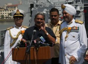 Defence minister Manohar Parrikar addressing the media onboard INS Kochi