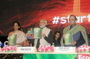 The Prime Minister, Shri Narendra Modi at the launch of Start-Up India, Stand-Up India programme, in New Delhi on January 16, 2016. The Union Minister for Finance, Corporate Affairs and Information & Broadcasting, Shri Arun Jaitley and the Minister of State for Commerce & Industry (Independent Charge), Smt. Nirmala Sitharaman are also seen.